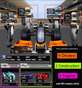 Fantasy Formula 1 Team Selection