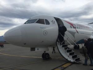 Austrian Fokker 70 - boarding in Podgorica