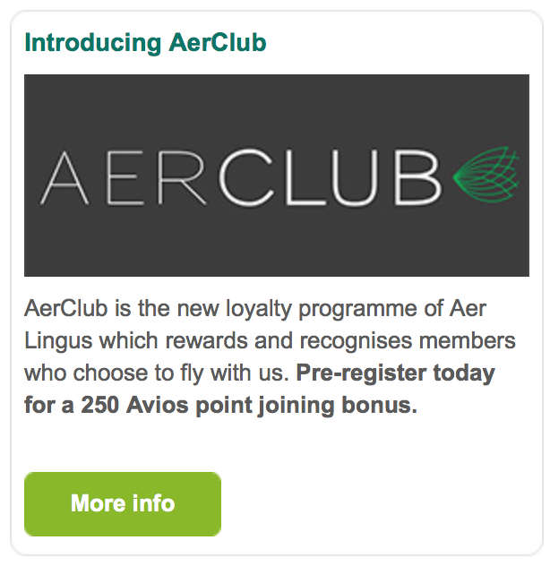 Aer Lingus AERCLUB joining email