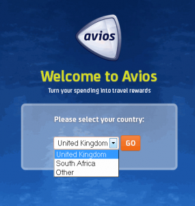 Avios.com please select country