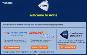 Mockup of a Avios.com landing page