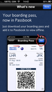 BA iOS app, what's new screen introduces Passbook