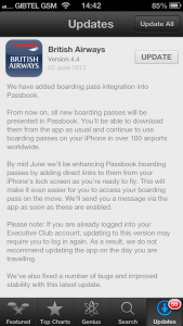 BA iOS App Passbook Update notice