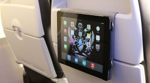 BA promotional image of seat back tablet holder