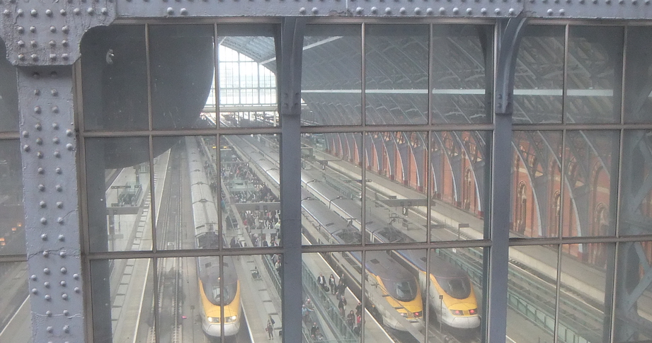 Eurostar platforms at St Pancras from behind the clock