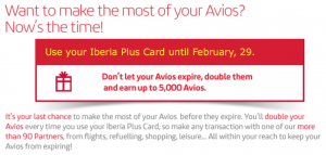 Iberia Plus - expiring avios double up promotion