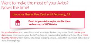 Iberia Plus - expiring avios double up promotion