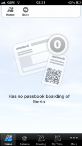 Iberia iOS app select borading pass screen - with no boarding pasess