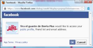 Iberia Plus facebook popup for multi-partner promotion.
