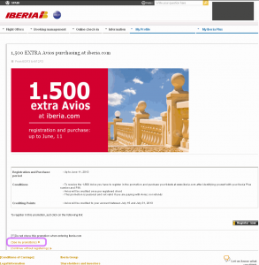 Iberia+ link to list your available promotions upon login