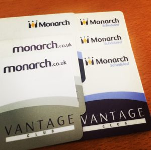 Monarch Airlines Vantage Club Membership Cards
