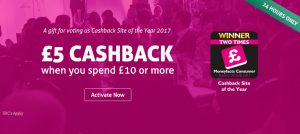 TopCashback £5 back on £10 spend