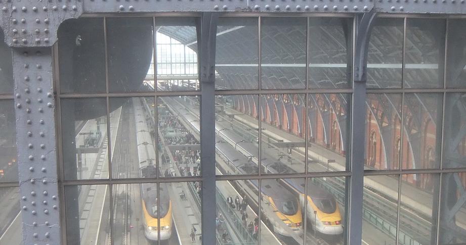 Eurostar platforms at St Pancras from behind the clock