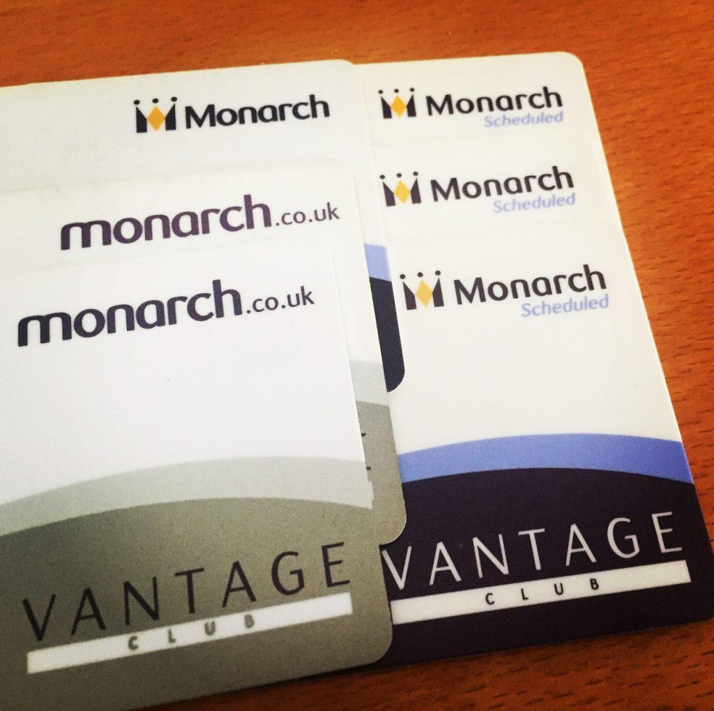 Monarch Airlines Vantage Club Membership Cards